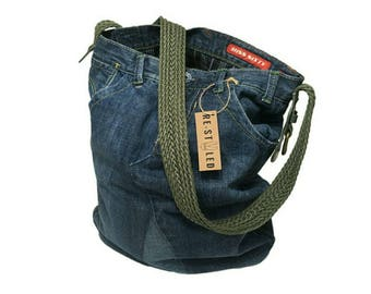 Handmade Denim Bag, Jeans Bag, Upcycled Denim, Hobo Bag, Jeans Shoulder Bag, Casual Shoulder Bag, Messanger Bag, Weekend, Everyday bag
