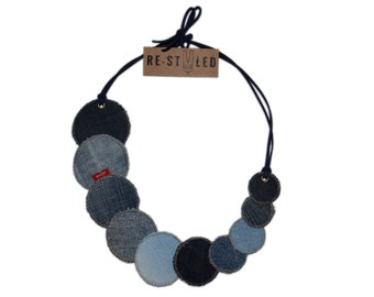 Denim Necklace, Upcycled Jewelry, Textile Necklace, Artisan necklace, Upcycled denim, Geometric necklace, Denim Accessories, Textile jewelry