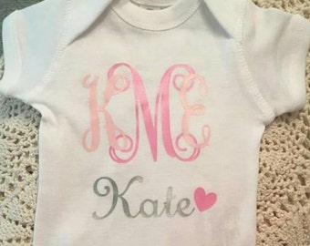 Monogram Baby onesie- Newborn- Girl onesie- Personalized onesie- Baby shower gift
