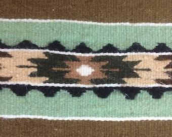 Handmade accent rug vintage geometric design european circa 1980 wool wall decor