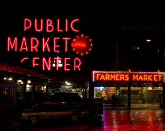 "Landscape Photo, Pike Place Market, ""Pike Place After Dark"""
