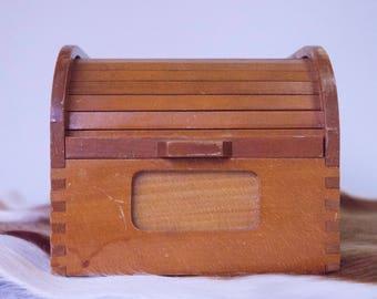 Vintage card catalog roller shutter cover