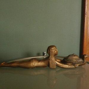 Frankart Era Art Deco Dancing Nude Bookends Cast Iron  Chocolate Brown Color  Original Paint