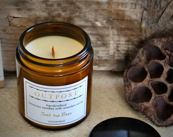 Premium All-Natural Beeswax Wood Wick Jar Candle with Bamboo Lid FREE Gift Box Beeswax Wooden Wick Luxury Candle Made to Order  