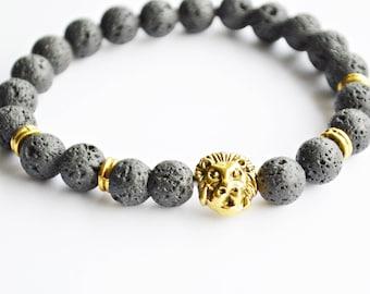 Black Lava beads with Lion head bracelet
