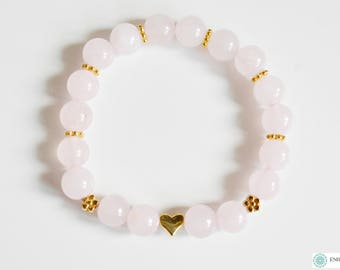 Rose Quartz with gold flowers and a heart bracelet