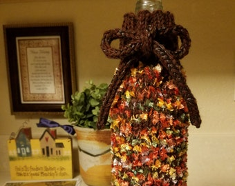 Fall Foliage Wine Bottle Gift Bag - Brown