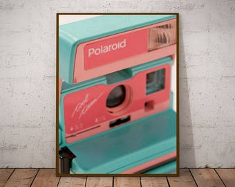 Vintage Polaroid Posters, instant digital printing. Room and office decoration. Polaroid camera illustration to give away