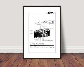 Instructions camera photography vintage Leica. Digital printing. Black and white printing. Instant download. Digital art posters