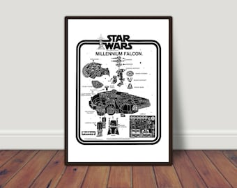 Instructions STAR WARS Millenium Falcon. Digital printing. Black and white print. Instant Download. Digital Art Posters