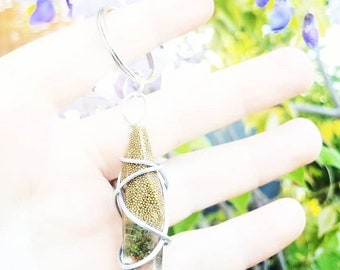 Goldshlager - Gold Wrapped Cannabis Gemstone - Weed Resin Keychain - MMJ - Medical Grade - Hemp Product