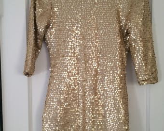 vintage gold sequin dress