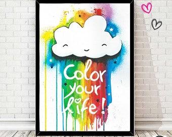 Rainbow cloud print - Wall paper - Poster