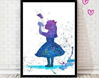 Alice in wonderland - print - watercolor - aquarell