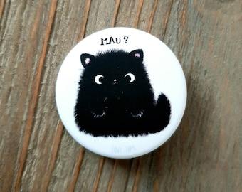 Kawaii Cat Button, Cat Moo, Soft and smoothy, Matte, Lapel, Black Cat, Brooch, Lapel Pin
