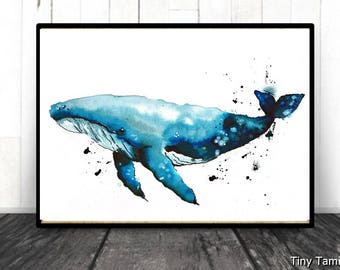 Bluewhale - Blue whale - print - watercolor