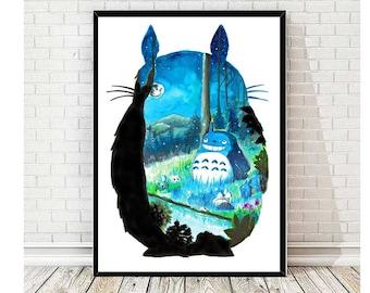 Totoro Forest- print - watercolor - aquarell