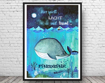 Whale poster in watercolor - Personalizable picture for the nursery - art print hand painted - whale with name - poster