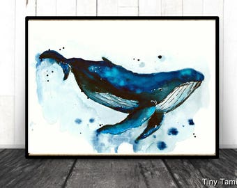 Humpback -  whale - print - watercolor