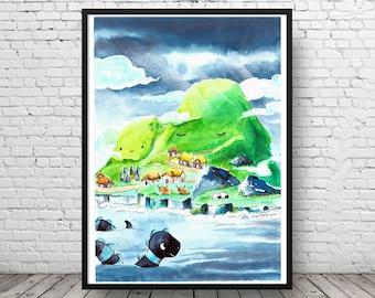 Scotland Nursery Art Print Picture - Island - World Map - Kids Poster - Children's Picture