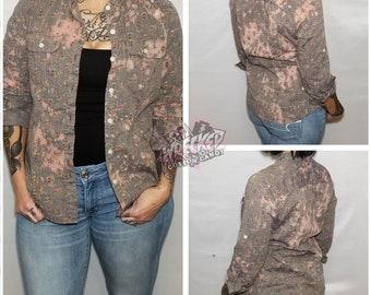 a6100f1ddb5 Button Down Gray Flowered Custom Hand Bleached Boho Style Women s Juniors  Shirt