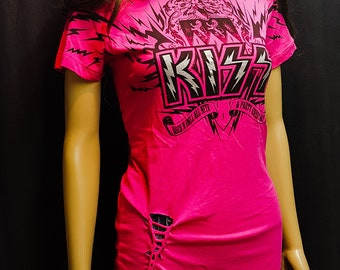 KISS Rock and Roll All Night and Party Every Day Distressed Laced T-Shirt