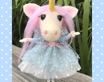 Unicorn Fantasy OOAK Miniature Clothespin Needle Felted Art Doll