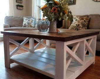 Double X Design Farmhouse Coffee Table Coffee Table W/ Two X Design Farm  Coffe Table Coffee Table Distressed Rustic Farm Table