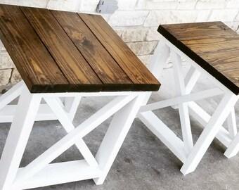 Delicieux Set Of Custom Farmhouse End Tables End Table W/ X Design Farm End Table Coffee  Table Distressed Rustic Farm Table