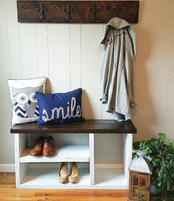 Rustic Bench With Shoe Rack And Boot Storage Cubby Bench | Etsy