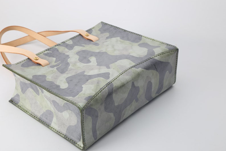 Green Camouflage Leather Tote-Women/'s Cowhide Leather Handbag Handmade Leather Tote Italian Leather Handbag