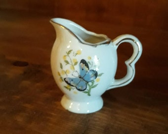 Vintage Miniature Tea Pot Pitcher with Bright Blue Details Handle Perfect Display Collection or Tie a Ribbon on to make a Christmas Ornament