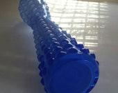 Mid Century Mod Vintage Blenko Glass Vase Ombre Blue Cased Glass over White Hour Glass Shape Hobnail Design Gorgeous Vintage Art Glass Vase