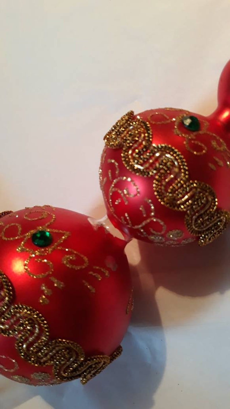 Festive Red Gold and Green Vintage Blown Glass Christmas Tree Topper with Gold Ric Rac Tiny Jewels Glittery Swirls and a Pearly Red Finish