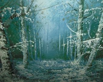 Carl Madden Original Signed Oil Painting -Vintage in Custom Frame - Winter Christmas Scene
