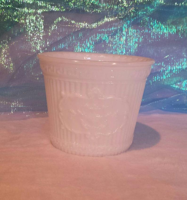 Vintage Bright White Milk Glass Planter with Greek Key Patterned Edge Medallion Emblem on Front Elegant Vintage Pot Retro Window Garden