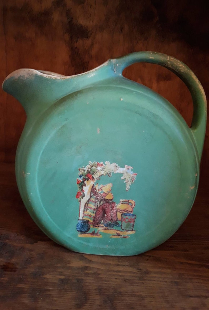 One of a Kind Vintage Rustic Green Chippy Pitcher Spanish Flair is Perfect for Large Bouquet of Flowers Watering Your Garden House Plants