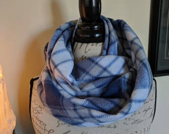 Blue and Gray Microwaveable Infinity Scarf