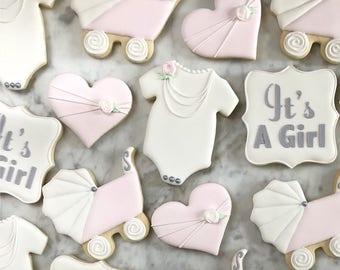 Girl Baby Shower Decorated Cookies - One Dozen