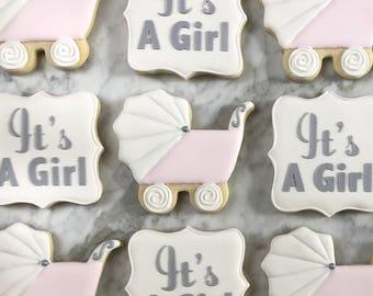 Pink Baby Shower Decorated Cookies - One Dozen