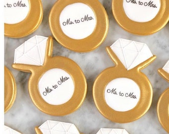 Engagement Ring Decorated Cookies - One Dozen
