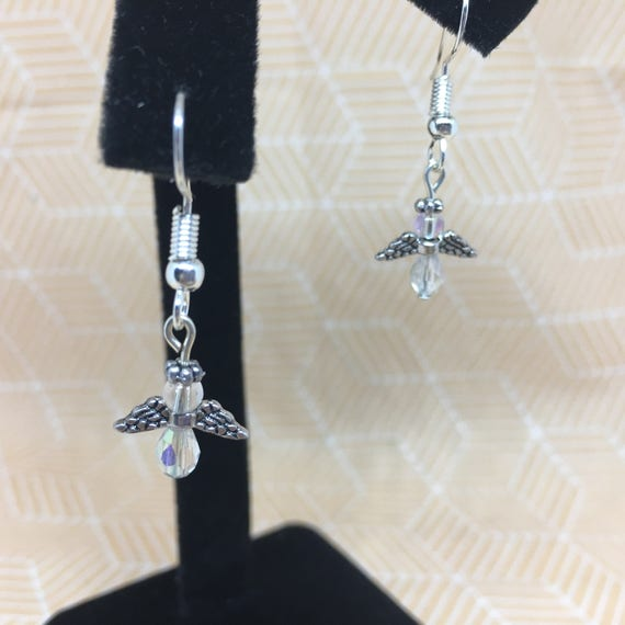 Guardian Angel Earrings With or Without Bead Nickel Free Dangle Hook Earrings