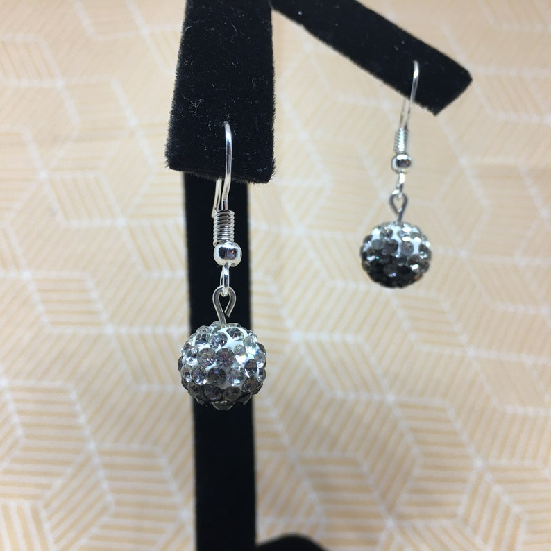 Nickel Free Dangle Hook Earrings Sparkly Earrings in choice of Purple and White or Pink and White Black and White