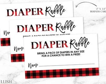 Buffalo Check Diaper Raffle Card - Diaper Raffle Ticket - Lumberjack Baby Shower - Rustic Baby Shower - Printable File - Digital File