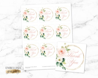 Baby Shower Thank You Tags | Floral Favor Tags | Boho Baby Shower | Bridal Shower Thank you tags | Blush Pink Gold  - Printable File