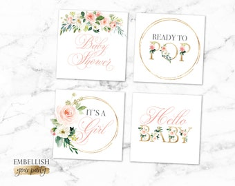Blush Floral Cupcake Toppers - Baby Shower Favor Tags - Boho Baby Shower - Square Tag - Favor label - Printable File - Watercolor Flowers