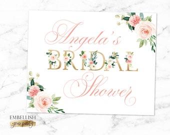 Welcome Bridal Shower Sign - Floral Bridal Shower - Blush Pink Flowers Gold | Boho Bridal Shower Decor - Personalized Sign - Printable File