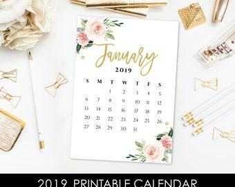 2019 Printable Calendar - 5 x 7 Desk Calendar - DIY Calendar - Blush Pink Floral Gold Leaf - Modern Farmhouse Calendar - Digital Calendar