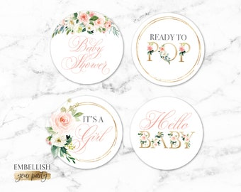 Blush Floral Cupcake Toppers - Baby Shower Favor Tags - Boho Baby Shower - Round Tag - Favor label - Printable File - Watercolor Flowers