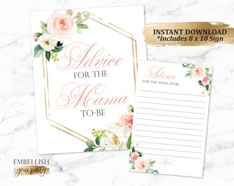 Baby Shower Advice Cards | Blush Pink Floral Baby Shower | Advice from Mama to be cards | Boho Baby Shower | Gold  - Printable File